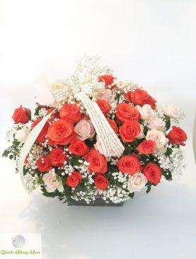 Hộp Hoa Hồng Cam Rực Rỡ