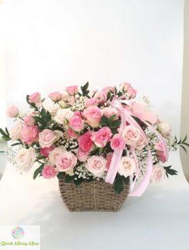 Giỏ hoa hồng đẹp sang trọng dành tặng người thân