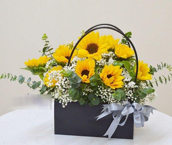 Hộp hoa hướng dương sang trọng tặng bạn bè